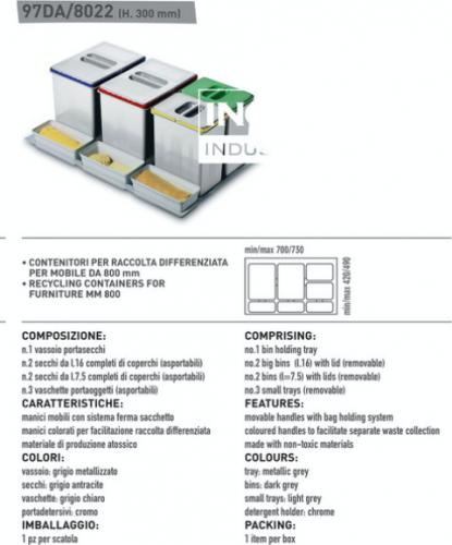 Segregator do szuflady śmietnikowej INOXA